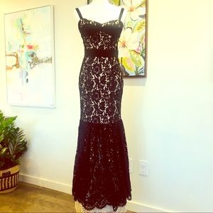MIlly long black lace gown w/cream satin lining